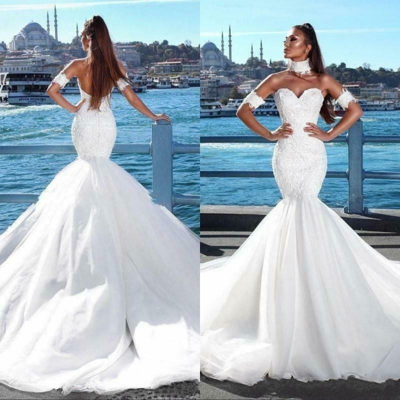 Plus Size Mermaid Wedding Dresses Illusion Lace Appliques Beads Bridal Gowns Vestido Novia