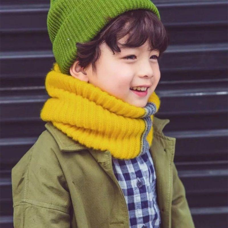 Toddler Girls Boys Knitted Scarf Stripe O-Ring Snood Neck Gaiter Neckerchief