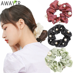 AWAYTR Satin Women Pearl Scrunchies Bow Ponytail Holder Hair Ties Bands Vintage Elastics Hairbands Girls Hair Accessories Ring