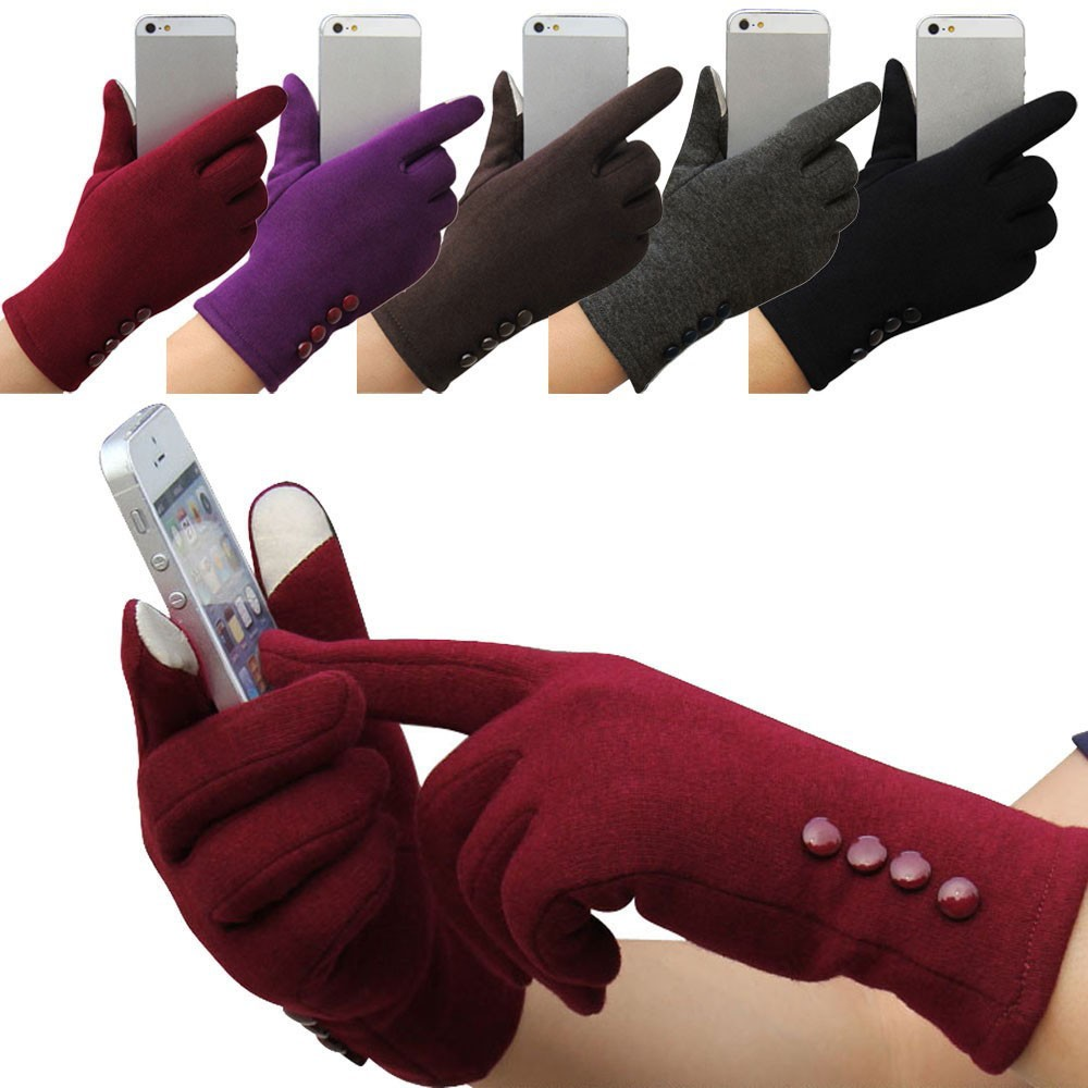 Ski-Gloves Korean Touchscreen Warm Thicken Outdoor-Sport Winter Full-Finger Women Solid title=