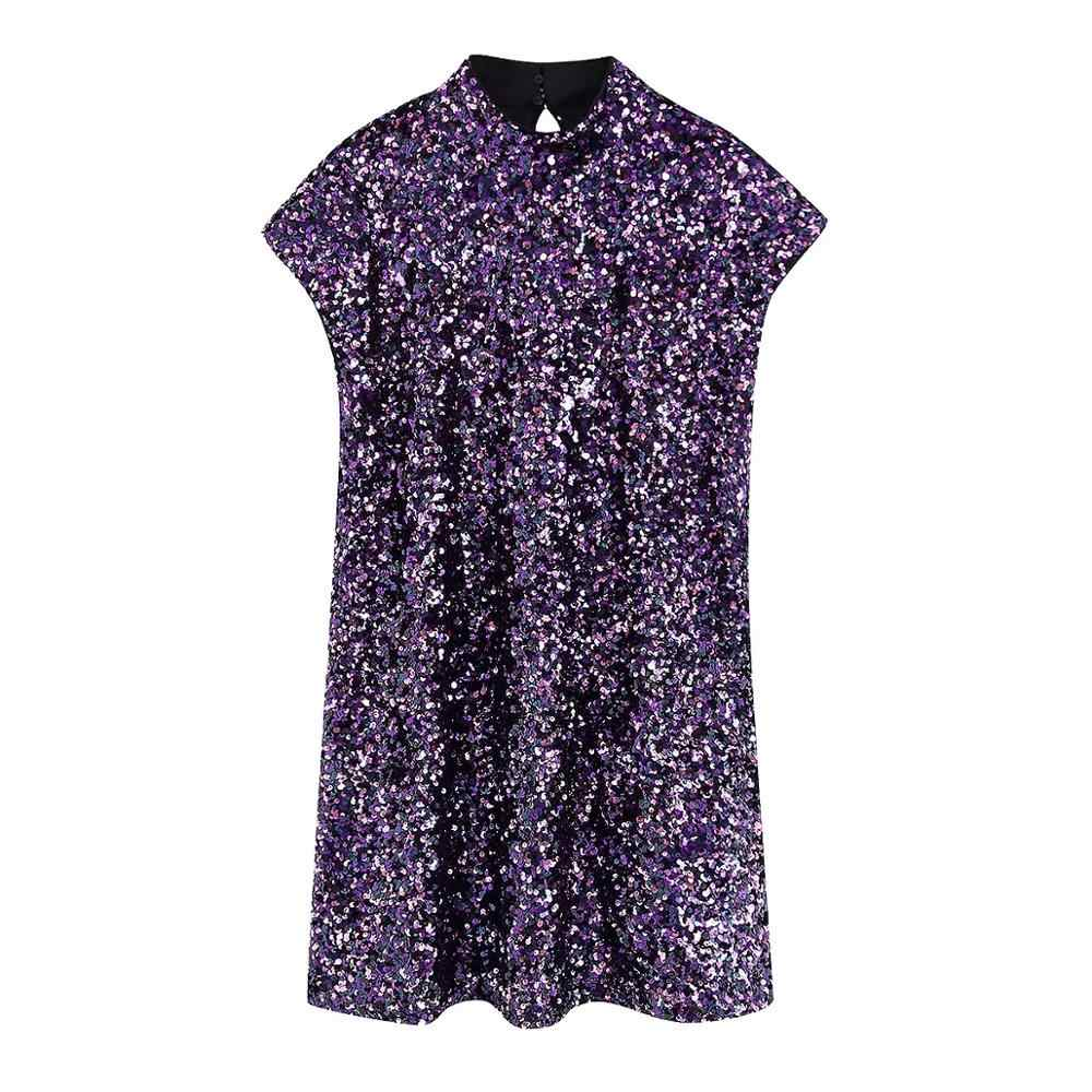 Za Vrouwen Jurk 2019 Shiny Purple Sequin Bling Backless Chic Dames Slanke Elegante Aboveknee Club Avond Party Dress Vrouw Jurken