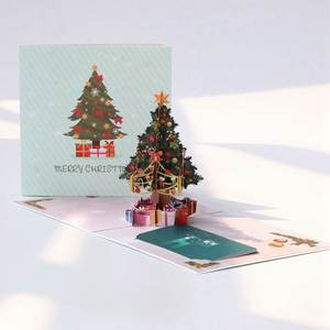 3D Christmas Tree Greeting Card Color Printing Hollow Carving Greeting Card Blessing Thanksgiving Creative Card Kid Gift