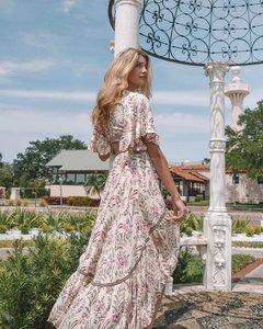 Image 3 - Robe maxi à imprimé fleuri pour femme, tunique à manches courtes et col en V, inspiration vintage et bohème, tenue plissée et chic, pour dames, idéal pour lété
