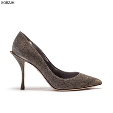 Italian Wedding Gold Shoes Women Pumps 2019 Luxury Brand Designer High Heels Ladies Rhinestone Party Shoes Woman Plus Size 43 недорого