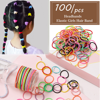 FNIO 100pcs Girls Hair Accessories Elastic Hair Bands Children Ponytail Holder Rubber Bands Kids Headband for Hair image