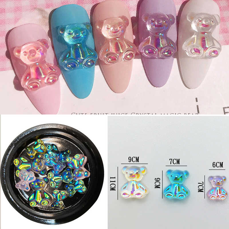 1Pcs Nail Sticker 3D Crystal Shell Flower Illusion Aurora Butterfly Bear Koala Nail Jewelry Stickers Nail Art DIY Nails Decals