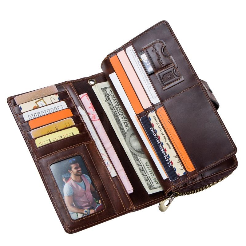 Genuine Leather Men Wallets Business Retro Hasp Casual Purse Multifunction High Capacity Coin Pouch Carteira Money Bag DA50QB