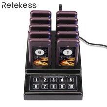 RETEKESS 1 передатчик + 10 пейджеров Беспроводная 433,92 MHz система ожидания гостей для ресторана клиника церкви кафе F4529A