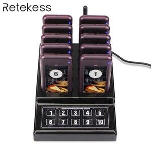 Image 1 - RETEKESS 1 передатчик + 10 пейджеров Беспроводная 433,92 MHz система ожидания гостей для ресторана клиника церкви кафе F4529A