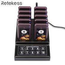 RETEKESS 1 משדר + 10 איתורית אלחוטית 433.92MHz החלפת אורח תורים מערכת למסעדה מרפאת הכנסייה קפה F4529A