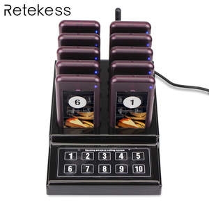 Image 1 - RETEKESS 1 Transmitter + 10 Pagers Wireless 433.92MHz Guest Paging Queuing System For Restaurant Clinic Church Cafe F4529A