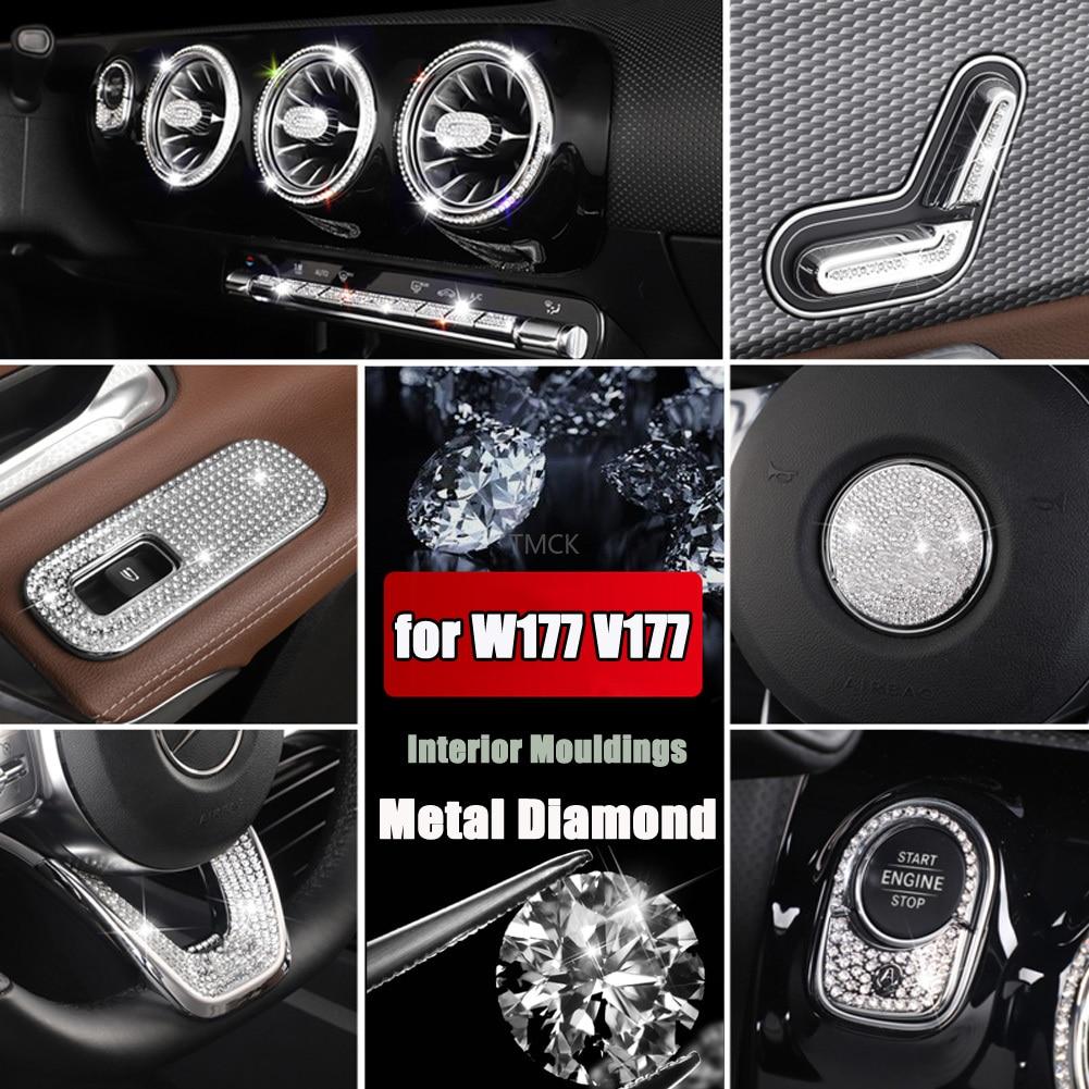 For Mercedes Benz A Class W177 V177 A180 A200 A220 A250 A35 AMG 2019+ Car Full Set Interior Mouldings Diamond Cover Trim Sticker