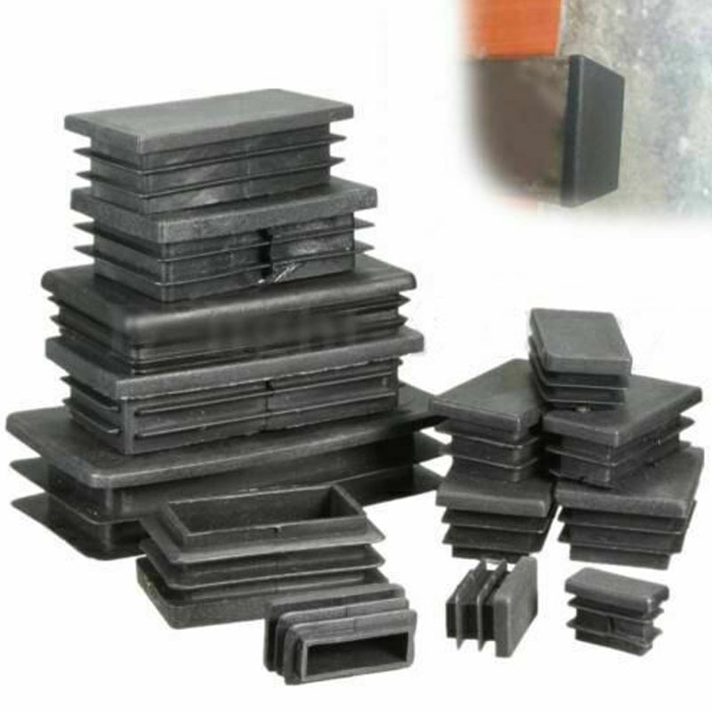 4pcs Black Plastic Blanking End Caps Rectangular Pipe Tube Cap Insert Plugs Bung For Furniture Tables Chairs Protector