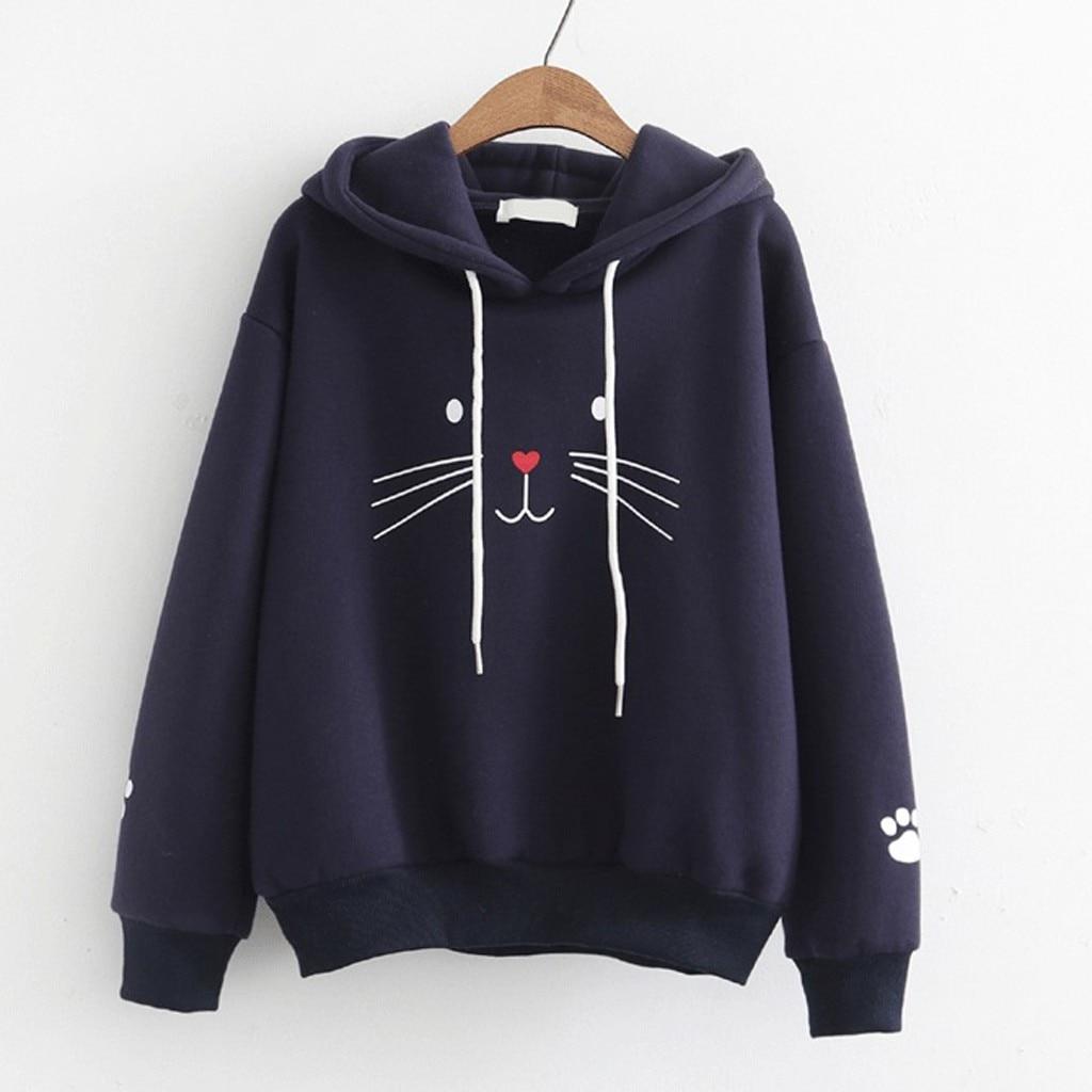 Feitong Lovely Cat Print Hoodies Women Autumn Sweatshirt Women Warm Winter Long Sleeve Sweatshirts Hoodie Sudadera Mujer 2019