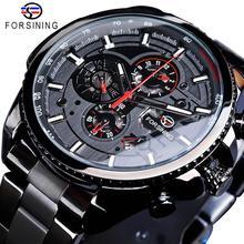 Forsining três dial calendário de aço inoxidável dos homens relógios de pulso automático mecânico marca superior luxo militar esporte masculino relógio