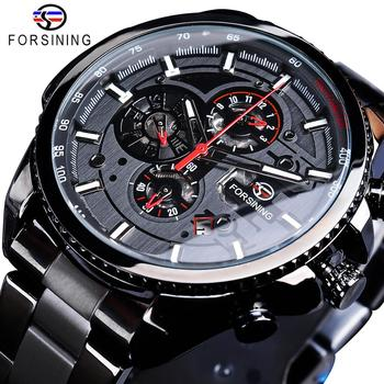 Forsining trois cadran calendrier en acier inoxydable hommes mécanique automatique montres-bracelets haut de gamme marque de luxe militaire Sport mâle horloge