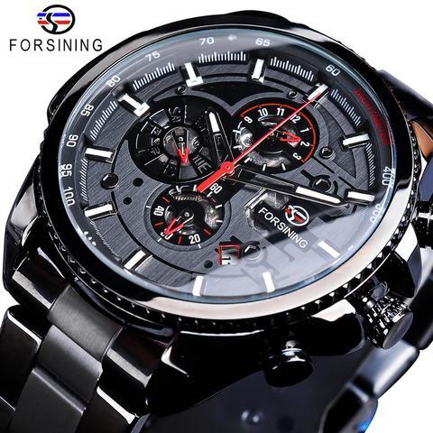 Calendário de Aço Inoxidável dos Homens Relógios de Pulso Forsining Três Dial Automático Mecânico Marca Superior Luxo Militar Esporte Masculino Relógio Mod. 115588
