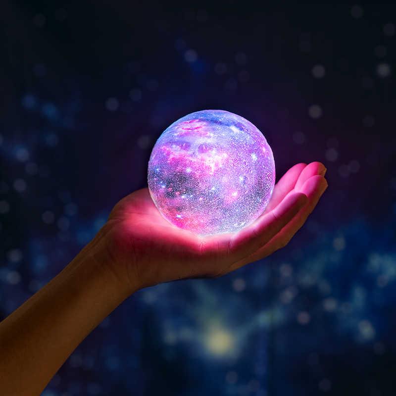 2019 חדש Dropship 3D הדפסת Galaxy מנורת כמו כמו ירח מנורת הטוב ביותר חג המולד אורות לילה אור בחדר כוכב ירח אור קישוט