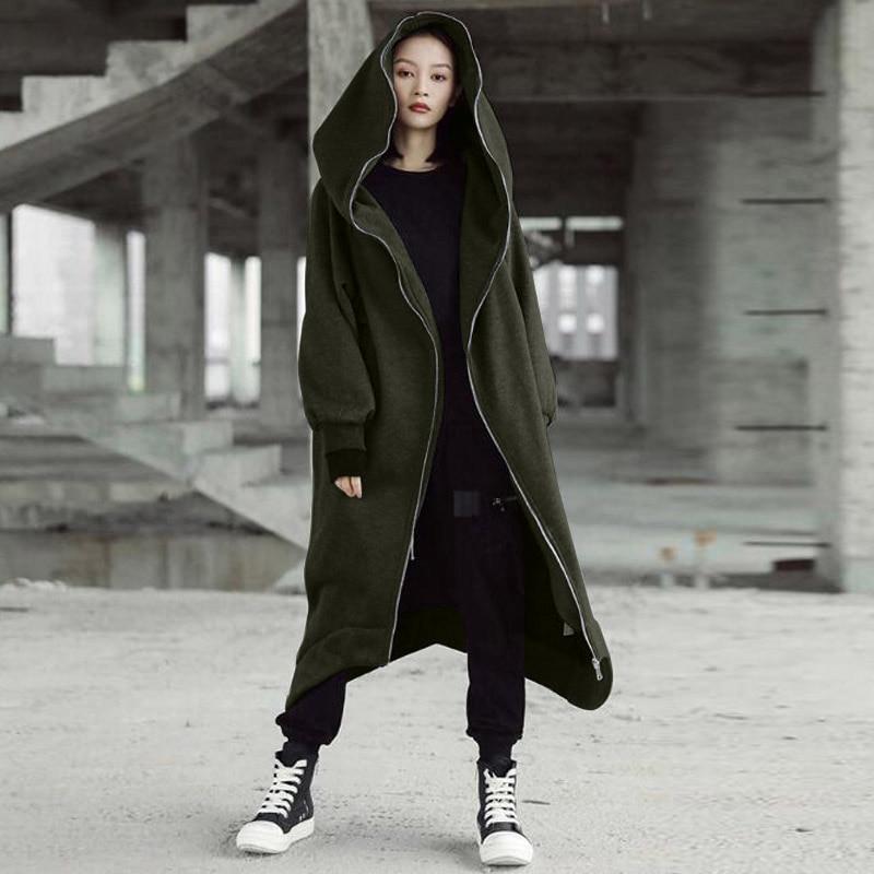 Winter Women Hooded Coats Jackets 2020 ZANZEA Female Long Sleeve Zip Long Jackets Oversized Parka Overcoats Windbreakers S-5XL
