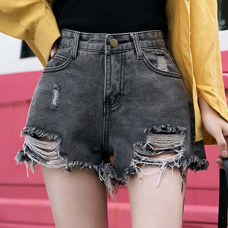 Women's Denim Shorts Women High Waist Ripped Shorts Jeans Women Loose Hole Jean