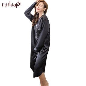 Ночная рубашка женская, шелковая, с длинным рукавом, на весну и лето, S-3XL