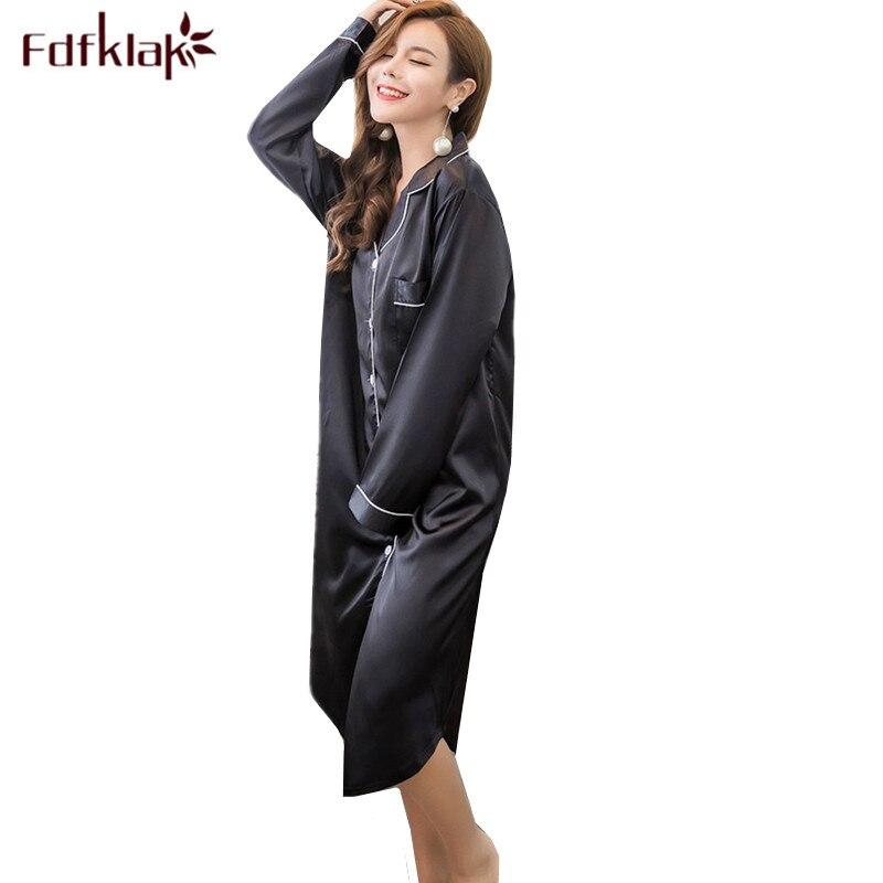 New Silk Nightgowns Women Long Sleeve Spring Summer Dress Nightdress Female Sleepwear Nightshirt Loose Sexy Night Shirts S-3XL