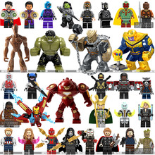 Legoings Marvel Super Heroes Infinity War Thanos Guardians of Galaxy Spider Iron Man Avengers THOR Building Blocks ของเล่นตัวเลข(China)