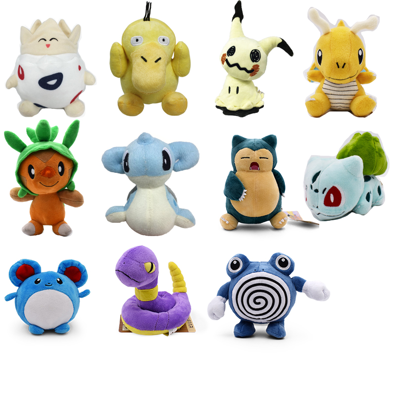 Togepy Psyduck Mimikyu Dragonite Chespin Lapras Snorlax Bulbasaur Marill Ekans Poliwhirl Plush Toy Soft Stuffed Doll