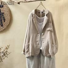 ZANZEA Women Plus Size Blazers 2020 Fashion New Autumn Coat Jackets Vintage Soli