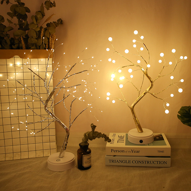 36/108 LEDS Night Light Bonsai Tree Light USB Copper Wire Table Lamp For Home Holiday Bedroom Indoor Kids Bar Decor Fairy Light