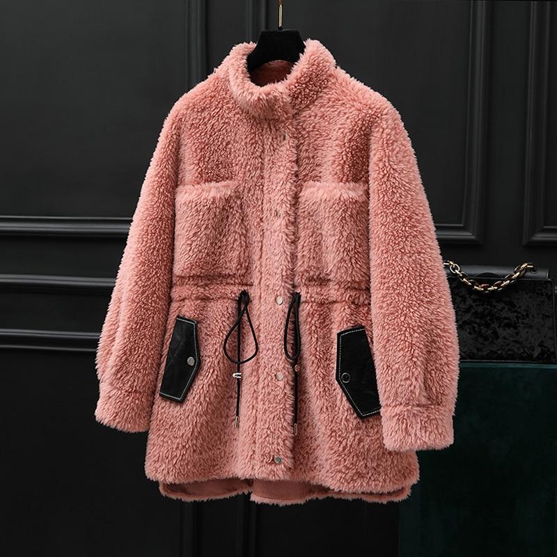 Real Fur Coat Female Autumn Winter Coat Women Clothes 2020 100% Wool Jacket Korean Vintage Sheep Shearling Suede Lining ZT3927