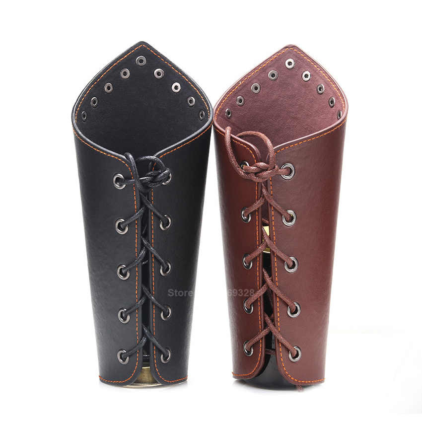 1Pc Men Medieval Cosplay Leather Armor Arm Warmers Lace-Up Viking Pirate Knight Gauntlet Wristband Bracer Steampunk Accessories