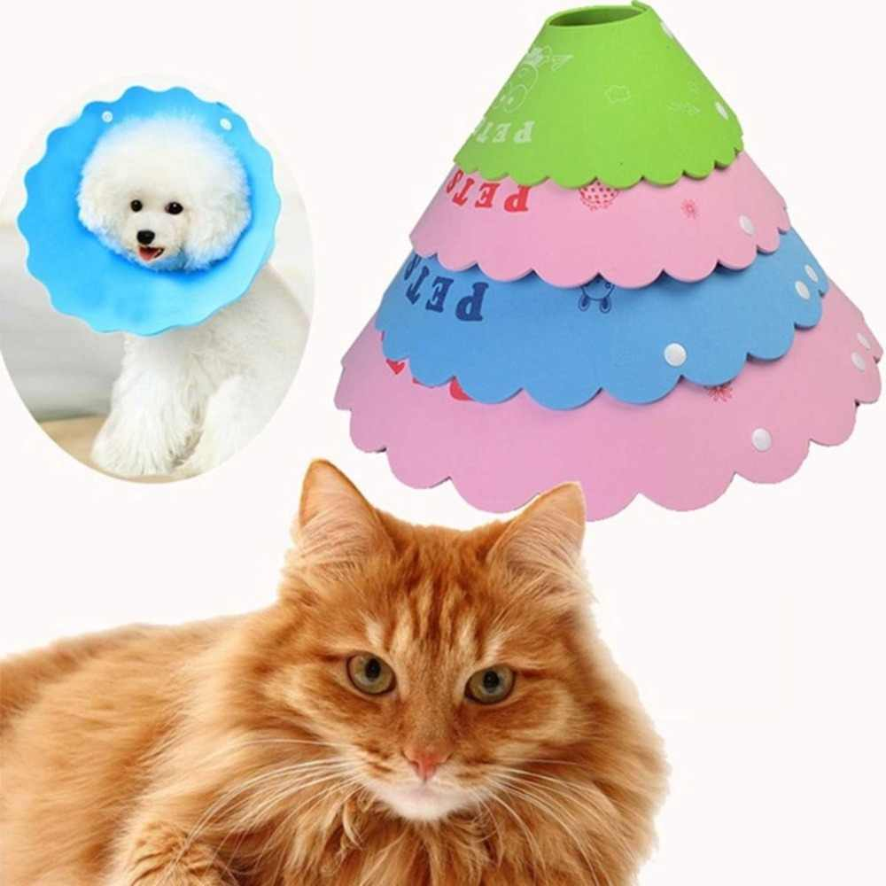 רב גודל חיות מחמד כלב חתול הגנת טבעת לחיות מחמד ביס הוכחת צווארון לחיות מחמד מגן כובע לחיות מחמד ברדס ביס הוכחת צווארון 4 יח'\סט