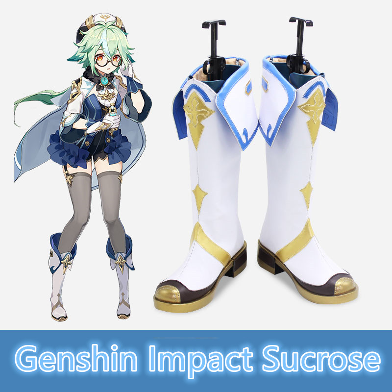 Genshin Impact Sucrose Boots Shoes Sucrose Wig Cosplay Long Straight Mixed Green Light Mint Heat Resistant Hair Women Halloween
