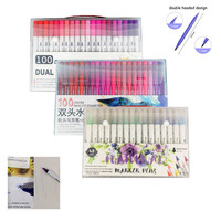 72/100 Colors Dual Tip Fineliner Drawing Art Markers Watercolor Pen Brush Markers Calligraphy Drawing Sketching Coloring Book|Art Markers|   -