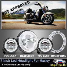 цены Russia Stock ! Motorcycle 7inch Led Headlight with Angle Eyes & 4.5Inch Fog Lamp for Harley Touring Steet Electra Glide Softail