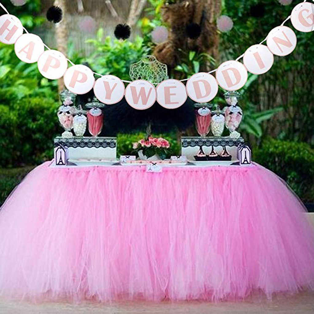 3-Layer Netto Tutu Stoel Rok Party Birthday Party Bruiloft Decoratie Tafel Rok Baby Shower Roze Klittenband Tafel Rok decoraties