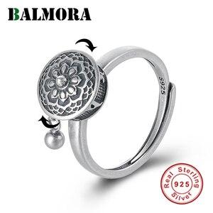 Image 1 - BALMORA 100% Real 925 Sterling Silver Buddhist Rings For Women Lady Rotating Ring Tibetan Prayer Mantra Ring Good Luck Ring Gift