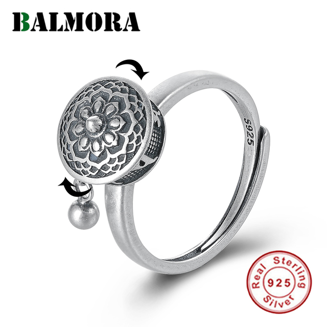 BALMORA 100% Real 925 Sterling Silver Buddhist Rings For Women Lady Rotating Ring Tibetan Prayer Mantra Ring Good Luck Ring Gift