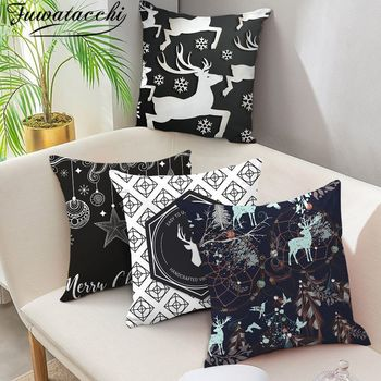 Fuwatacchi Christmas Day Cushion Cover Santa Deer Tree Printed Throw Pillows Cover Home Sofa Bedroom Black Decorative Pillowcase fuwatacchi ocean mermaid starfish pattern cushion cover cartoon throw pillowcase for home sofa decorative pillows covers 30 50cm