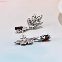 S925 Sterling Silver Antique Thai silver macsai leaves inlaid with red zircon Maple Leaf thai silverEarrings ear studs for women