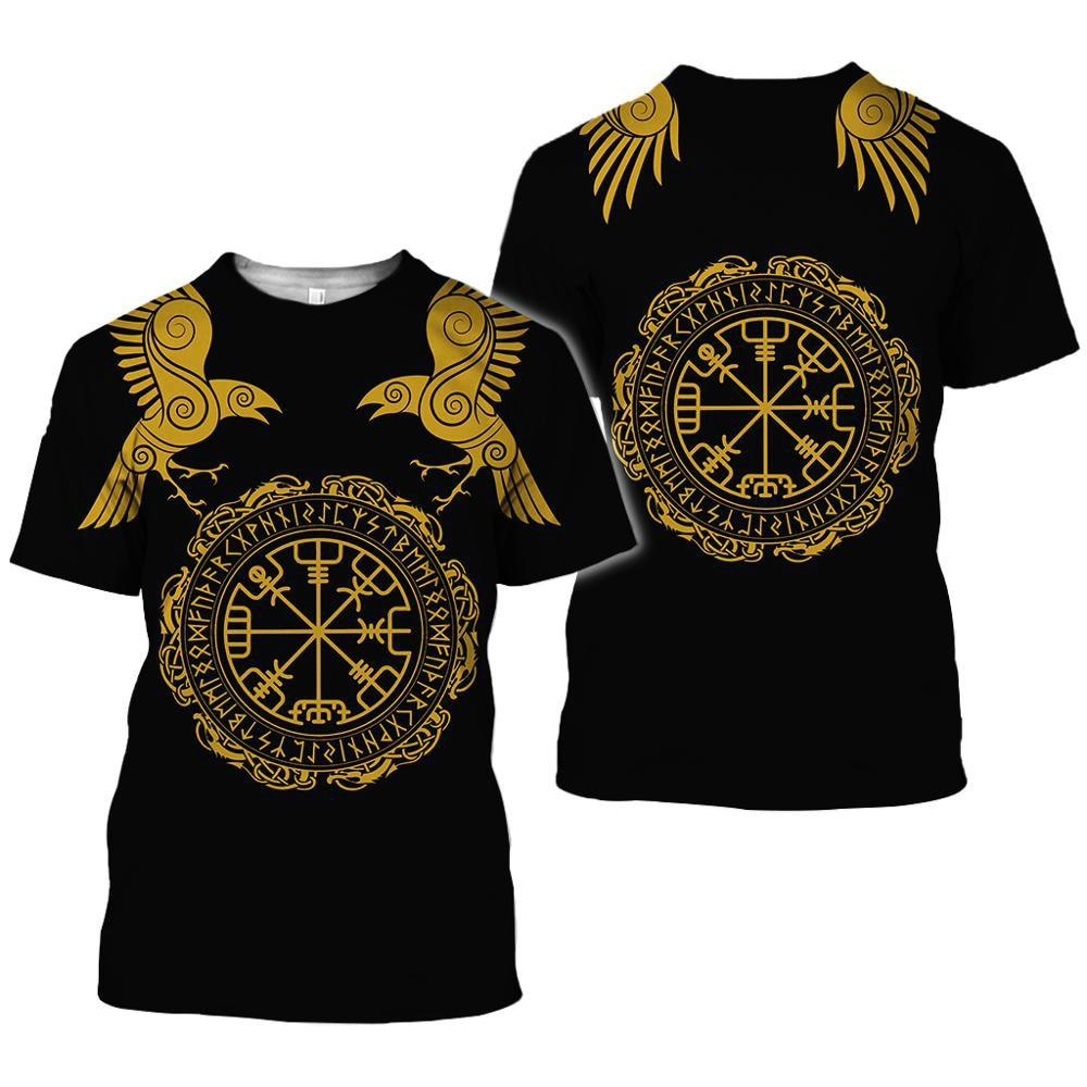 2020 latest Viking symbol printed T-shirt men's summer short-sleeved Harajuku T-shirt men's street hip-hop unisex T-shirt top 01 3