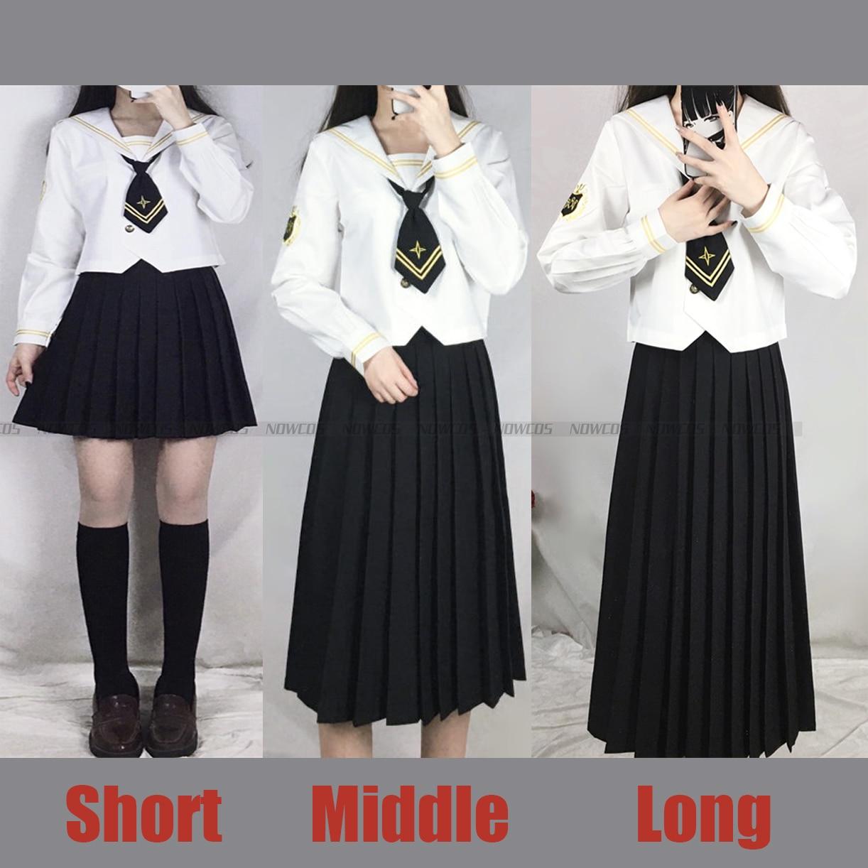 Women JK Uniform Orthodox Sailor Suit Embroidery Badge Genuine Japanese Student Girls Class School Uniform Set in Spring Autumn