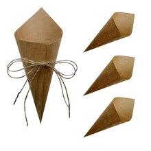 30 Uds. De confeti personalizado para boda, pétalos de papel kraft, conos de confeti naturales para decoración de fiesta de cumpleaños o boda