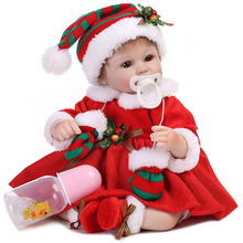 Baby Reborn Doll With Christmas Costume Cute Lifelike Full Body Silicone Babies Handmade Toddler Dolls Funny Toys