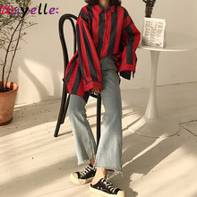 New 2019 Autumn Women Shirt Striped Casual Loose Fashion Long Sleeve Simple Lady Cotton Wild Blouses and Tops