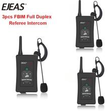EJEAS Brand 3pcs Latest FBIM Football Soccer Referee Motorcycle Bluetooth Intercom Full Duplex BT Referee Headset with FM Radio