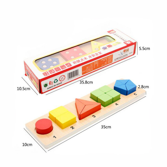 New Kids Wooden Toy Color and Geometry Shape Cognition Board Puzzle Matching Game Baby Educational Learning Toys for Children