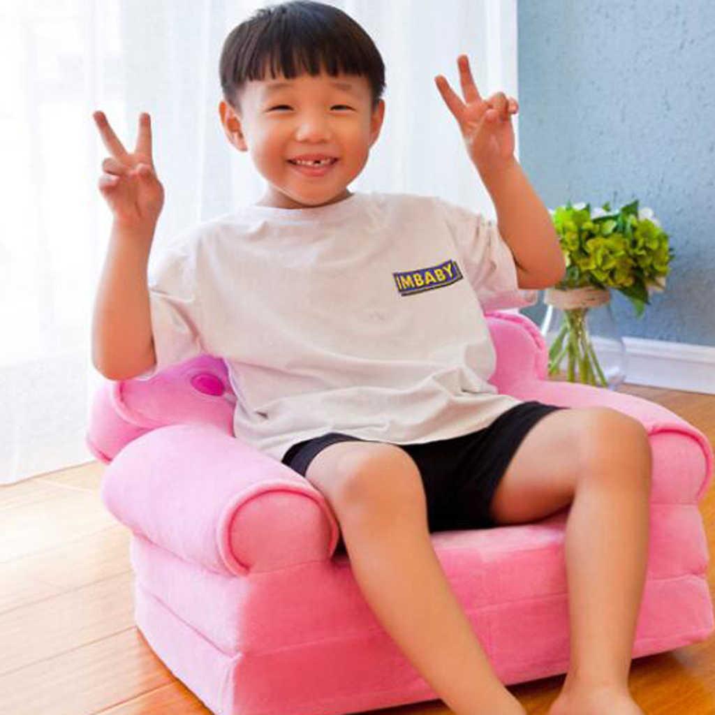 Princess Crown เก้าอี้ปกการ์ตูนน่ารักเด็กล้างทำความสะอาดได้พับโซฟาเก้าอี้ที่นั่งเบาะเฟอร์นิเจอร์ห้องนั่งเล่น