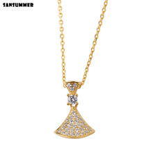 Sansummer 2019 New Fashion S925 Silver Zircon Geometric Element Triangle Charm Gorgeous Party Necklace For Women Jewelry